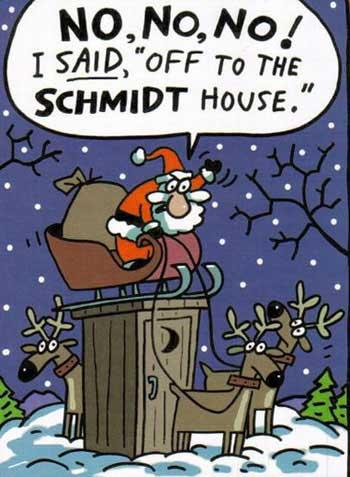Santa and the Schmidt house toilette dash humor dot com