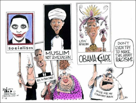 racist teabaggers cartoon politiskink dot com