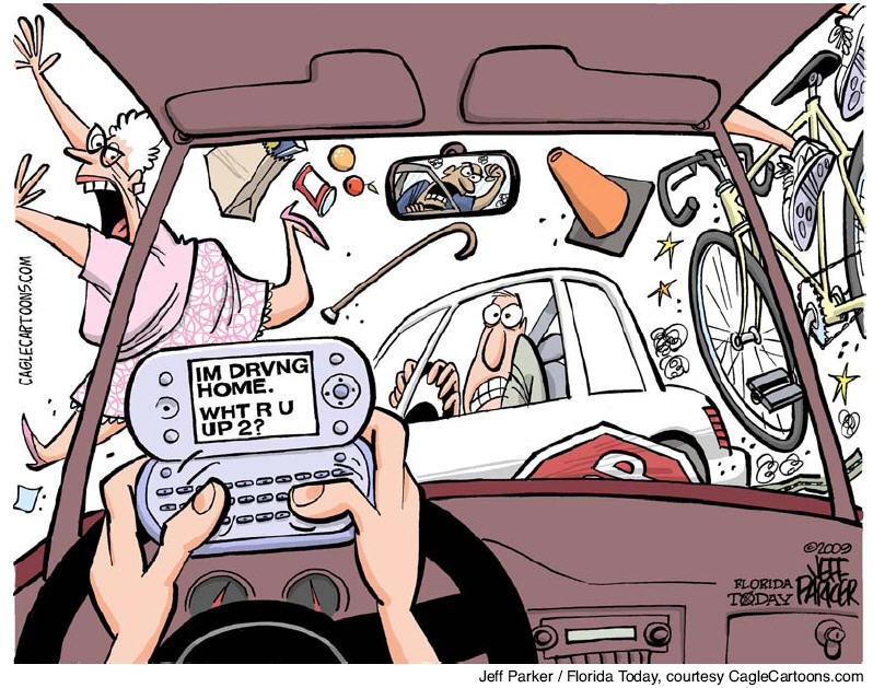 texting as well as driving a motor vehicle satire