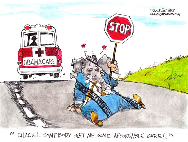 Obamacare keeps on rolling Bill Schorr Cagle Cartoons