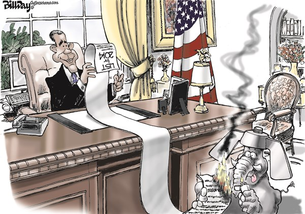 President Obama vs Repub Destruction Bill Day Cagle Cartoons