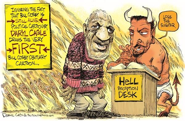 Hell Greets Cosby Daryl Cagle CagleCartoons com