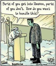 Frankenstein cartoon bizarro.com Dan Piraro