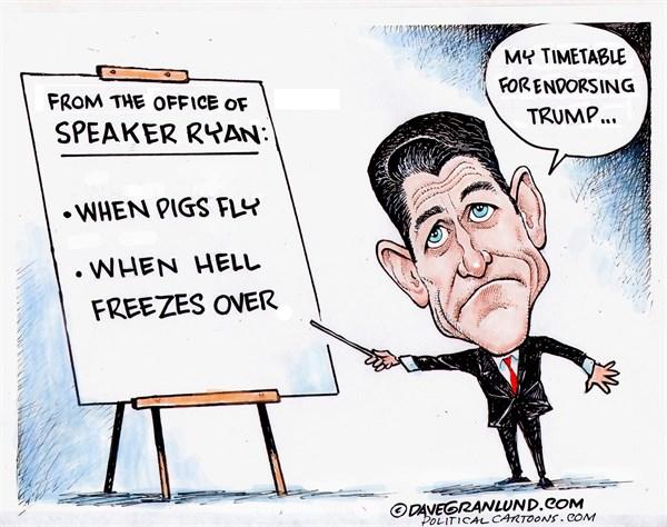 Ryan Endorsing Trump Dave Granlund Politicalcartoons com
