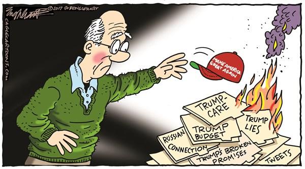 Trump Burning Bob Englehart CagleCartoons com