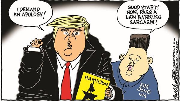 Trump vs Hamilton Bob Englehart CagleCartoons com