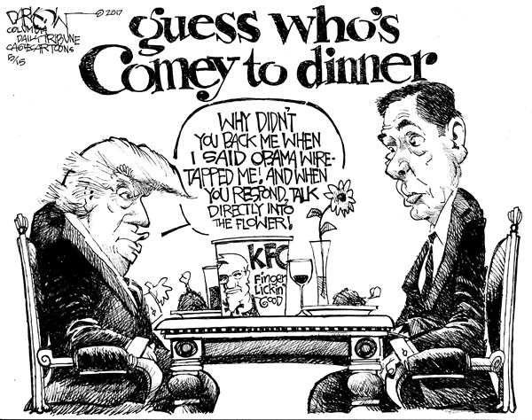 TRUMP COMEY DINNER John Darkow Columbia Daily Tribune Missouri