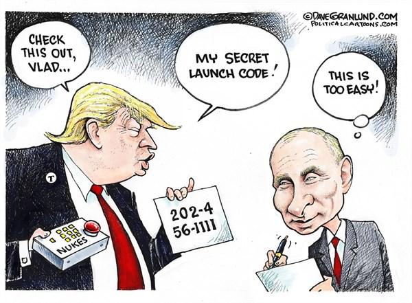 Trump spills the Beans Dave Granlund Politicalcartoons com