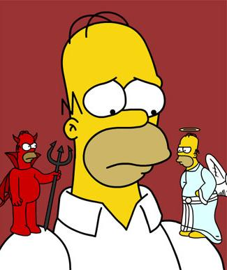 Simpson Devil and Angel on Shoulder meme