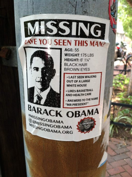 Missing Obama sign seen in DC