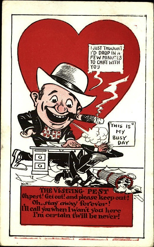 visiting pest vinegar valentine card 1930
