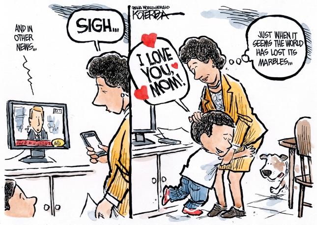 Child Hugs vs World Jeff Koterba Omaha World Herald NE